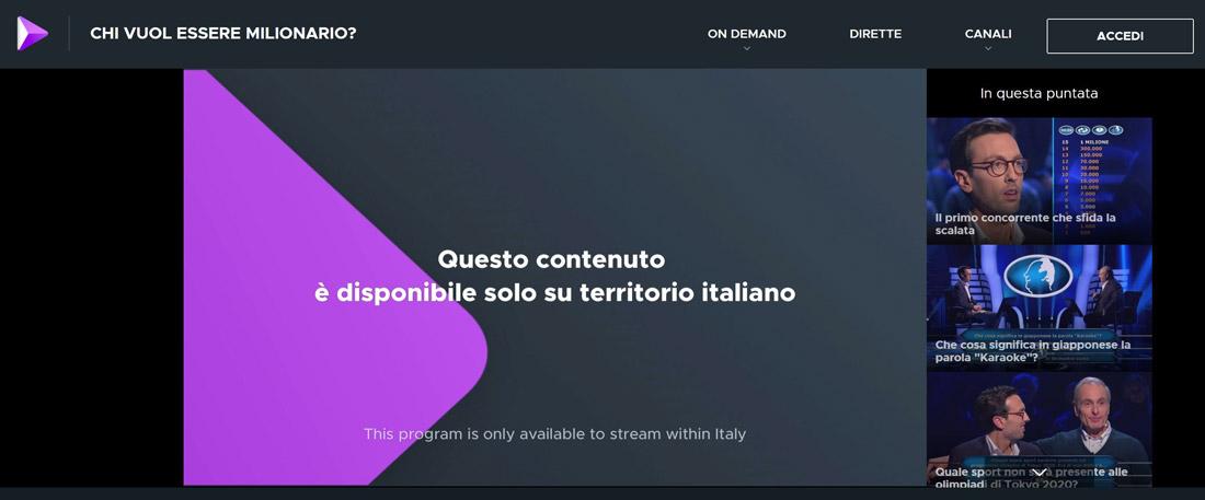 questo contenuto è disponibile solo su territorio italiano