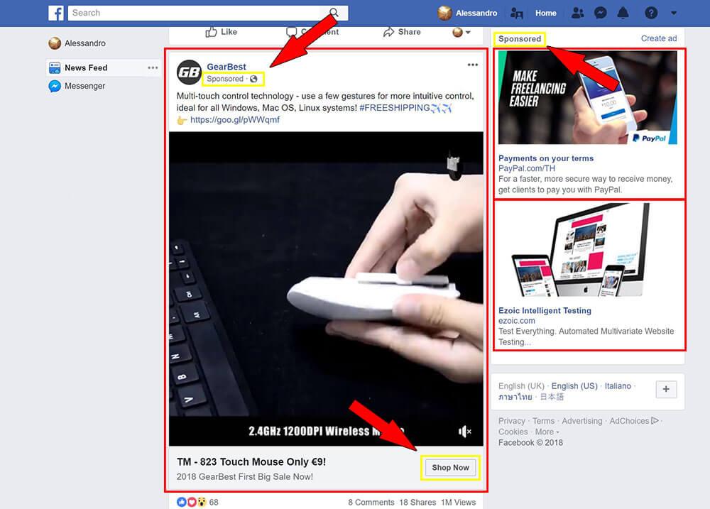 pubblicità traffico a pagamento facebook ads