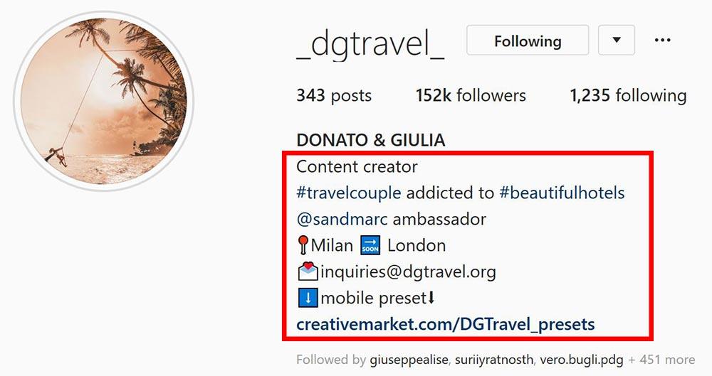 ottimizzare bio instagram