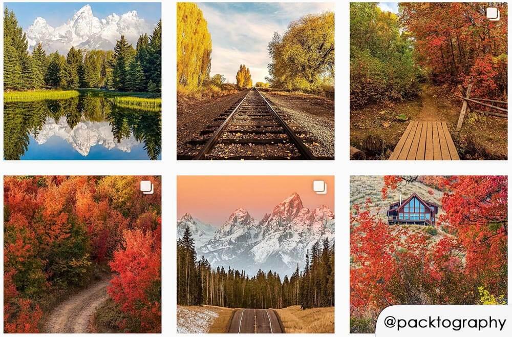 Profilo Instagram con preset fotografico autunnale