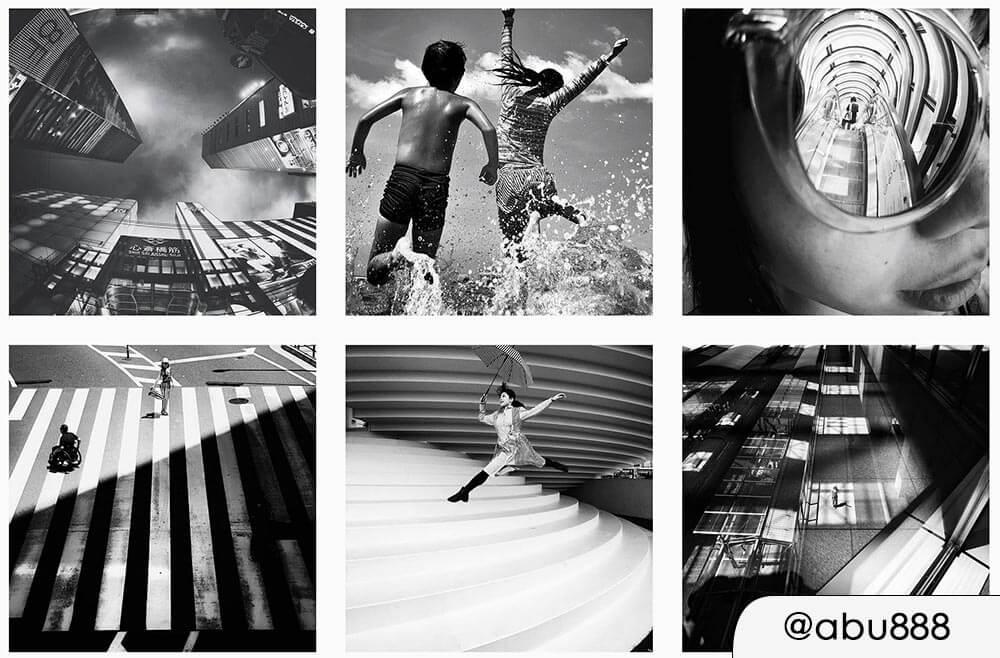 Profilo Instagram con preset fotografico bianco e nero