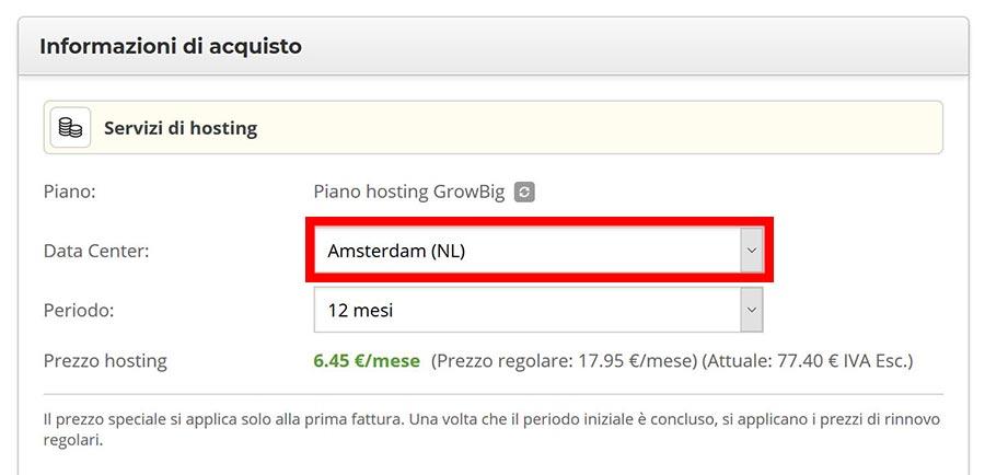 Data center per l'Italia: Amsterdam