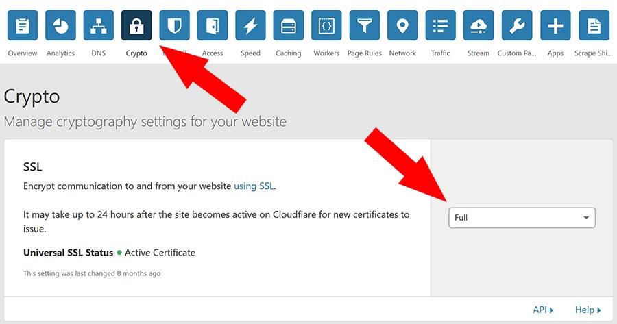 impostazioni certificato ssl cloudflare
