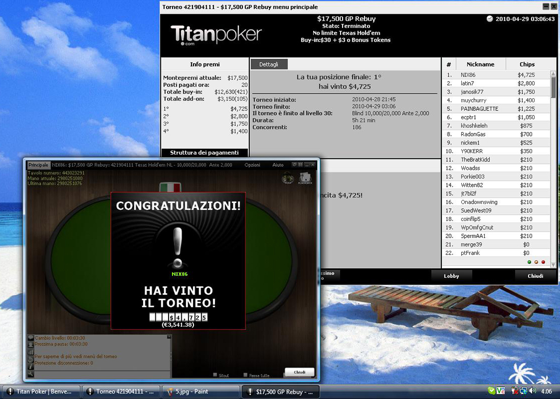 Vincita poker online