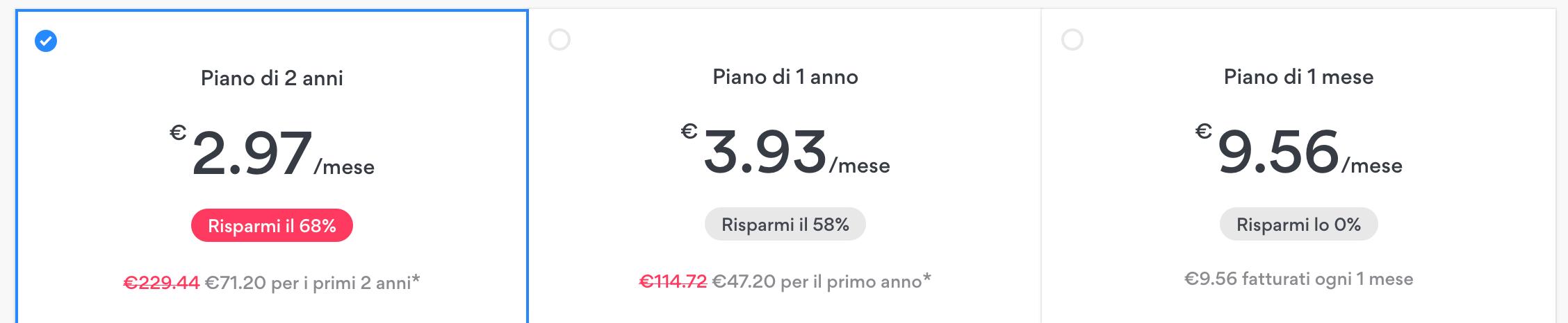 nordvpn prezzo