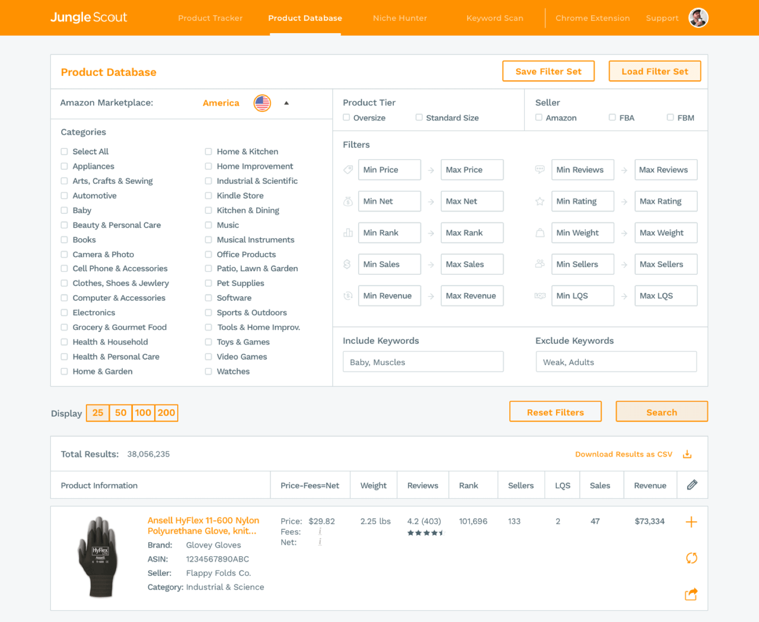 Junglescout product database come funziona