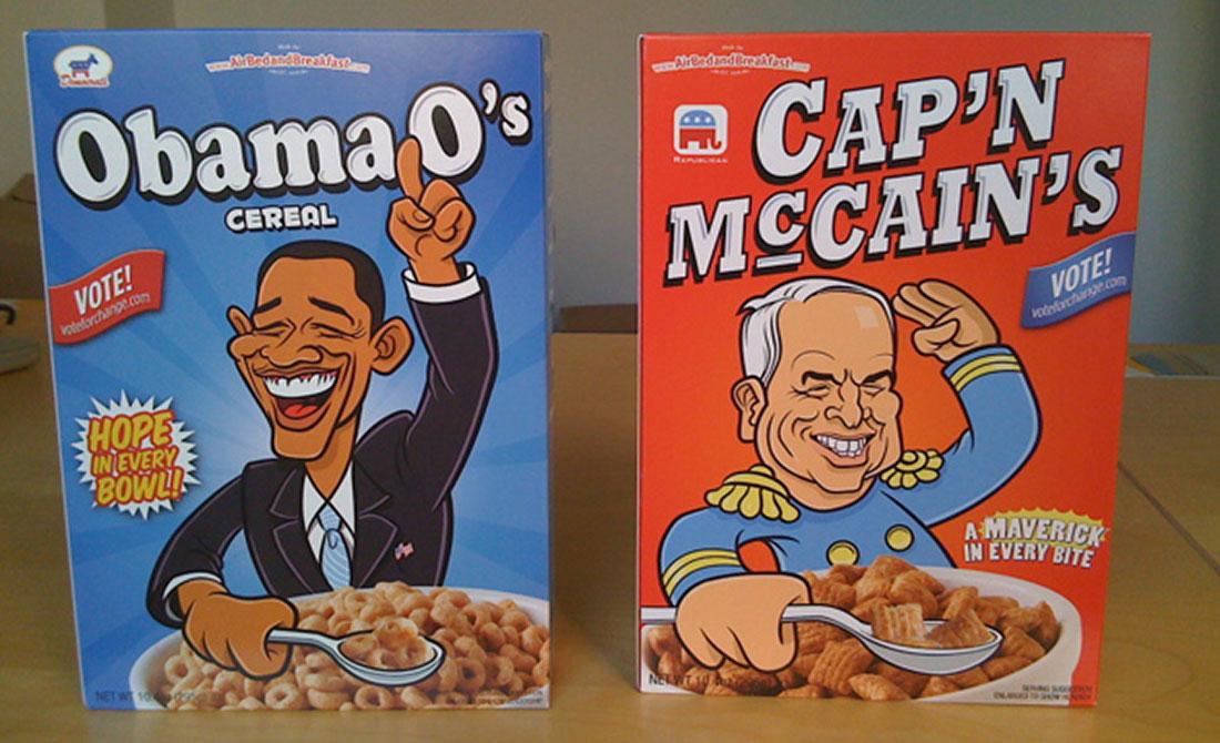 cerelai Cap'n McCain's e Obama O's