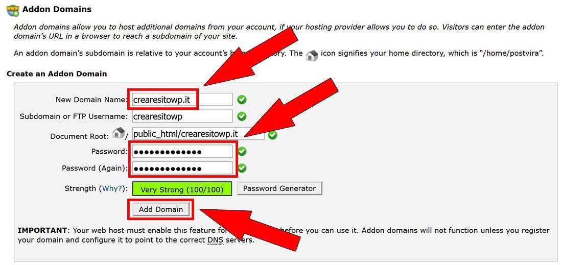 addon domain aggiunta domini siteground