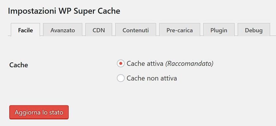 attivare cache wp super cache