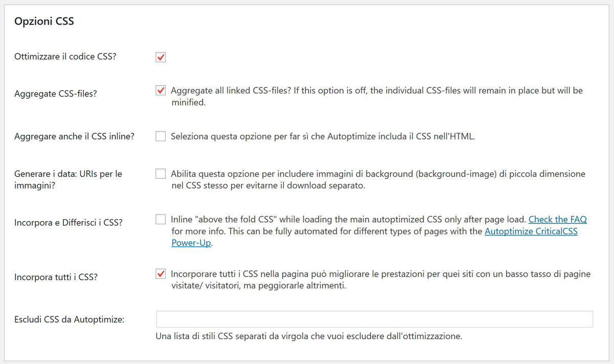 Impostazioni CSS