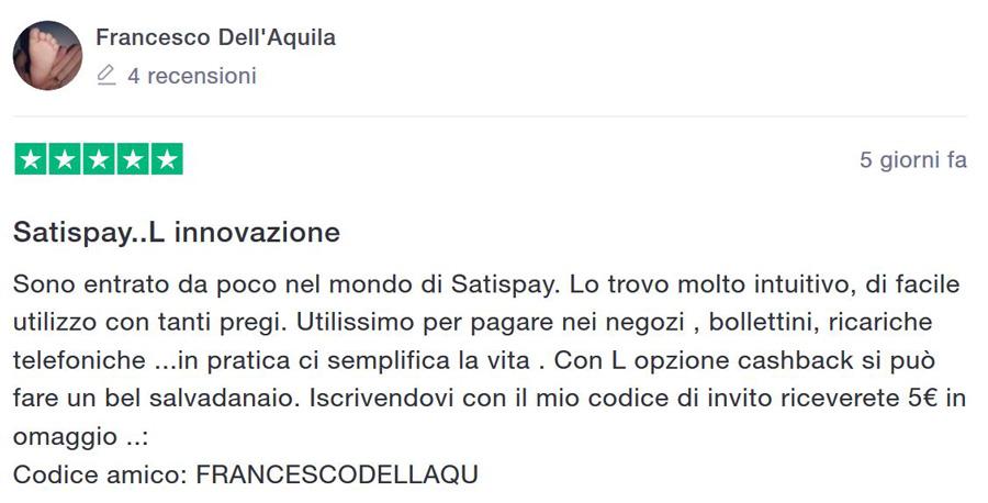 recensioni satispay italia