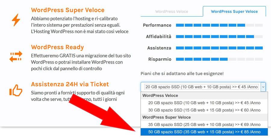 piano hosting wordpress super veloce prezzo