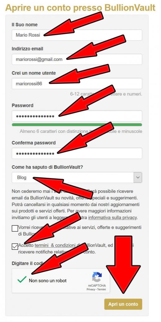 registrazione conto bullionvault italia