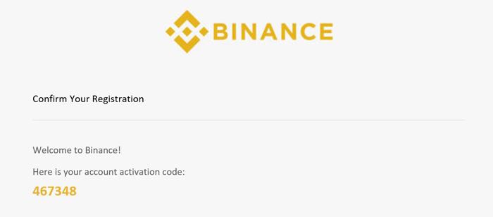 email con codice binance