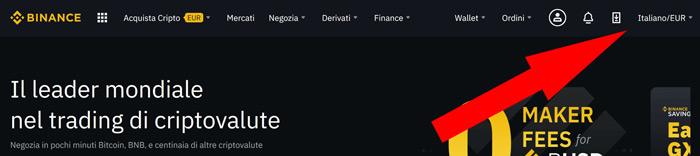 """selezione lingua """"Italiano/EUR"""""""