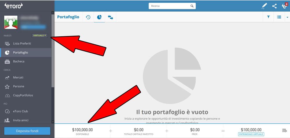 etoro demo portafoglio virtuale social trading