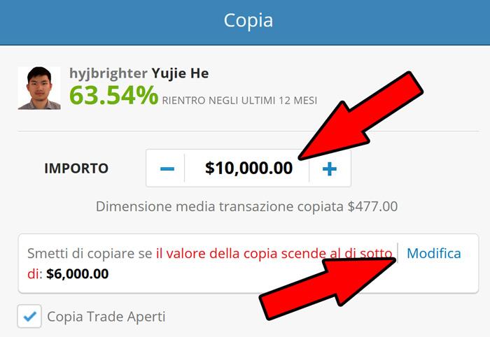 impostazioni copy trading