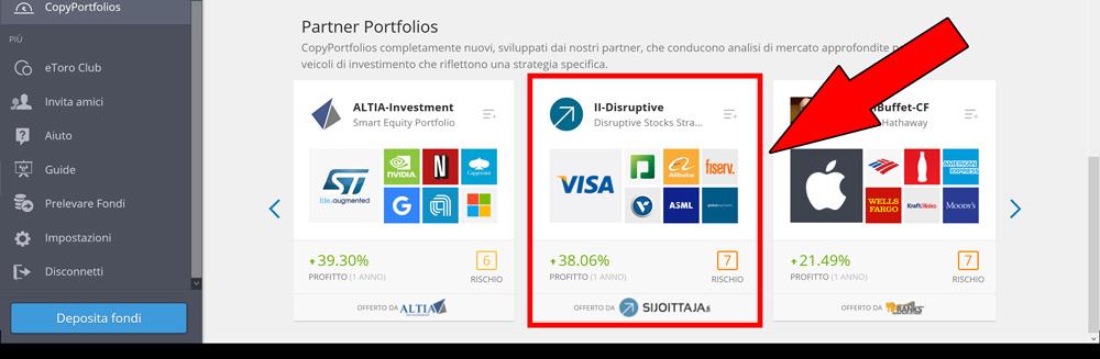 seleziona copia portafoglio virtuale