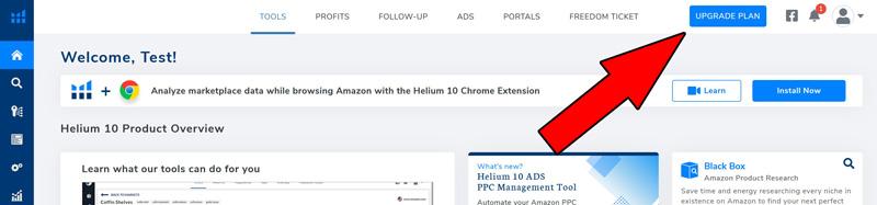 dashboard helium10 upgrade piano