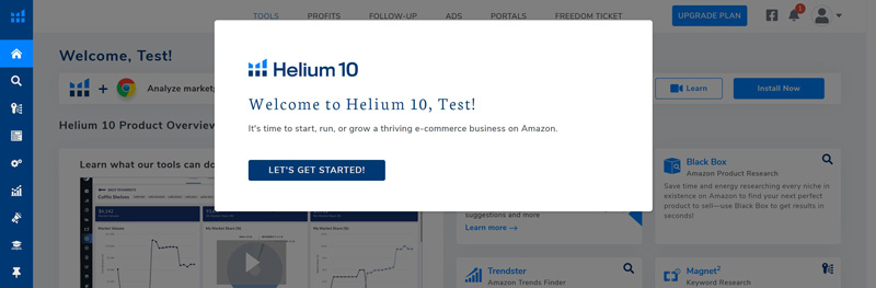 dashboard helium10