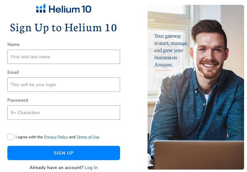 form registrazione helium10 italia