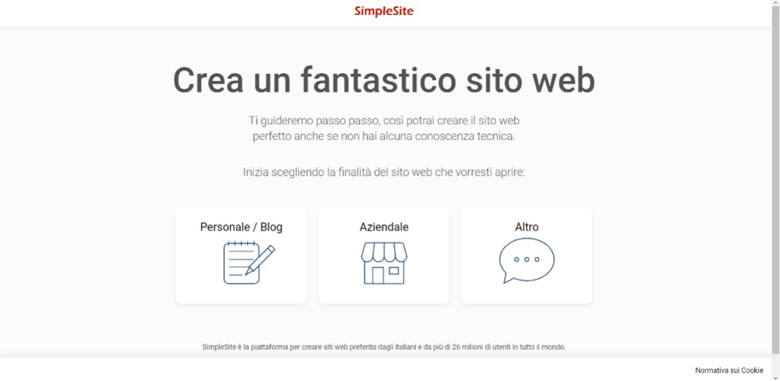 creare un sito web simplesite