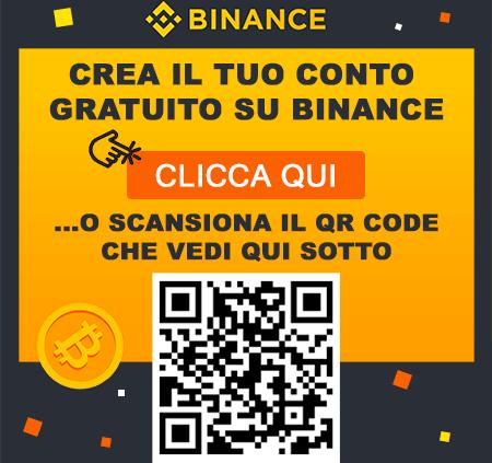 crea conto binance italia qr code
