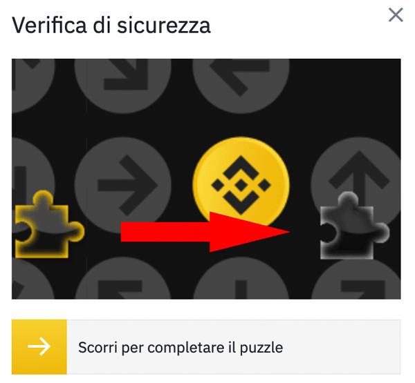 completamento puzzle binance login