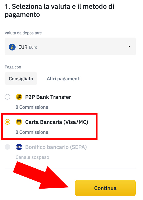 deposito soldi euro carta bancaria