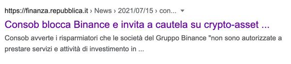 repubblica binance consob bloccata in italia